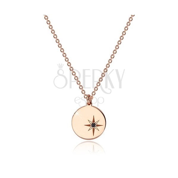 925 silver necklace of pink-gold colour - glossy circle, north star, black diamond