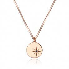 925 siver set of pink-gold colour - necklace and earrings, circle with Polaris, black diamond