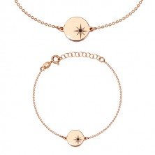 Bracelet of pink-gold colour, 925 silver - glossy circle, north star, black diamond