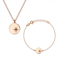 925 silver set, pink-gold hue - bracelet and necklace, circle, Polaris and diamond