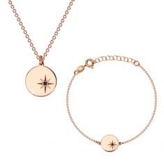 925 silver set, pink-gold hue - bracelet and necklace, circle, Polaris and diamond