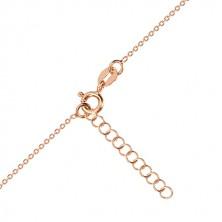 925 silver necklace, pink-gold hue - symmetric heart, Polaris, black diamond