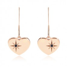 Black diamond - 925 silver earrings, symmetric heart of pink-gold colour, north star