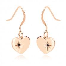 925 silver earrings, pink-gold hue - symmetric heart, north star, black diamond