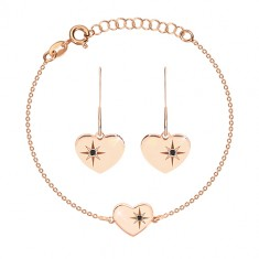 925 silver set, pink-gold hue - bracelet and earrings, heart with Polaris and diamond