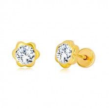 Yellow 585 gold earrings - flower, glittery zircon center, studs with screwbacks