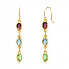 Yellow 375 gold earrings - zircon grains in purple, sky-blue and green hue