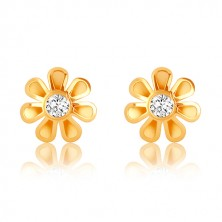 9K gold earrings - flower with seven petals, clear zircon in the center