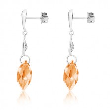 White 375 gold earrings - inverted tear, clear grain, zircon of honey-gold colour