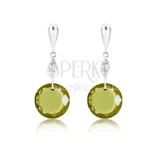 White 9K gold earrings - inverted tear, clear grain, round zircon of dark-green colour