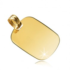 Yellow 14K gold pendant - glossy rectangle with round edges