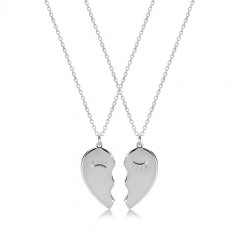 925 silver set - two necklaces, halved heart with narrowed eyes