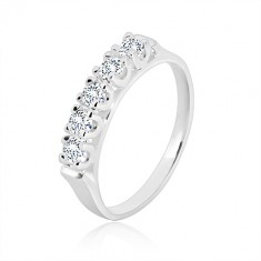 925 silver ring - narrow glossy arms, five glittery zircons in mount