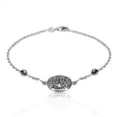 925 silver bracelet - life tree, spiral leaves, cut balls