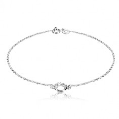 925 silver bracelet - glossy circle with dotted half, fine chain