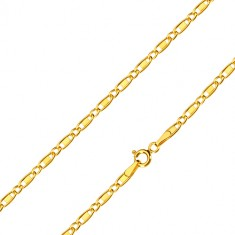 Yellow 585 gold chain - oval rings, oblong rings with rectangle, 500 mm