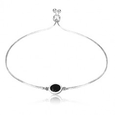 925 silver bracelet - chain with snake motif, circle with black center