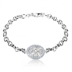 Silver 925 bracelet - carved circle with Celtic cross and zircons