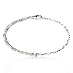 925 silver bracelet - ball chain with chess board motif, lobster claw clasp