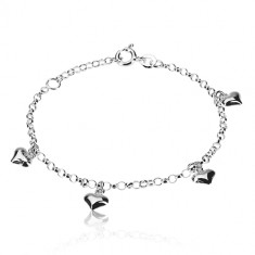 925 silver bracelet - symmetric hearts, chain of round rings