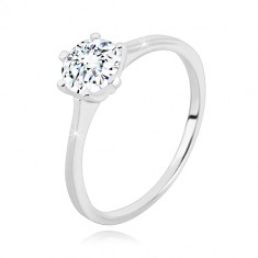 925 silver ring - narrow arms, glittery zircon of transparent hue, 6 mm