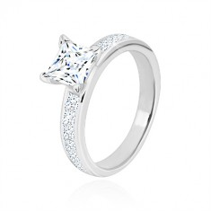 925 silver ring - zircon square of clear colour in mount, glittery arms