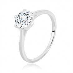 925 silver engagement ring - narrow arms, triangles and zircon, 7 mm
