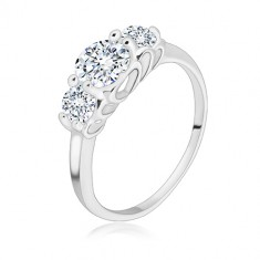 925 silver ring - three round glittery zircons, heart cuts-out