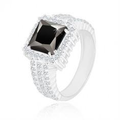 925 silver ring - black zircon square, clear zircon rim and arms