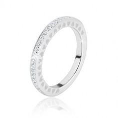 925 silver wedding ring - clear glittery zircons, tiny heart cuts-out