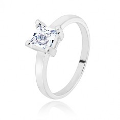 925 silver ring - narrow arms, transparent zircon square, 5 mm