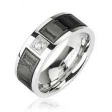 Ring made of steel - Roman numerals and zircon