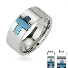 Stainless steel ring with blue cross