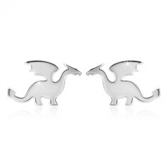925 silver earrings - motif of dragon, glossy finish, studs