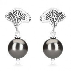 925 silver earrings - balls of hematite colour, shell, studs