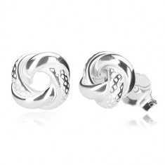 925 silver earrings - glossy knot with assymetric dints, stud fastening