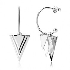 925 silver earrings - glossy triangles and balls, narrow arch with ball, studs