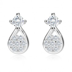 925 silver earrings - tear with zircon flower, zircon in mount, studs