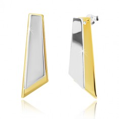 925 silver earrings - assymetric quadrangles of gold and silver colour