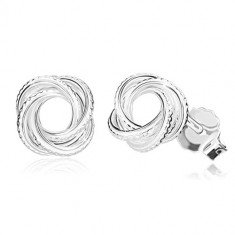 925 silver earrings - glossy knot with cuts, narrow lines, stud fastening