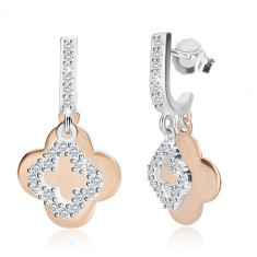 925 silver earrings - zircon line, two four-leaves of various sizes, studs