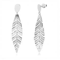 925 silver earrings - glossy feather, inverted tear, studs