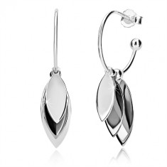 925 silver earrings - three oblong leaves on narrow arch, stud fastening