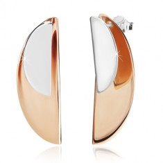 925 silver earrings - glossy arches of silver and copper colour, studs