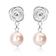 925 silver earrings - white rose, round rings, light-pink ball