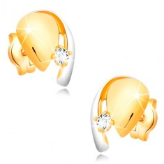 Earrings made of 585 combined gold - tear with clear zircon and line of white gold