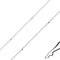 Ankle bracelet made of 925 silver - joined rhombuses, clear zircons, oval rings
