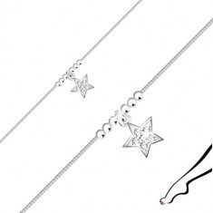 925 silver ankle bracelet - star with zircons, glossy balls, angular chain
