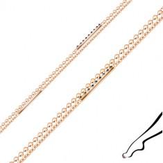 Silver ankle bracelet - dual chain, zircons, stripes, copper colour