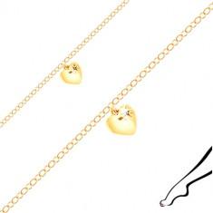Ankle bracelet of silver gold colour - glossy heart, black zircon